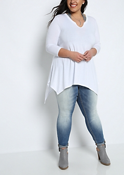 Plus White Sharkbite Tunic Tee