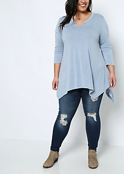 Plus Light Blue Sharkbite Tunic Tee