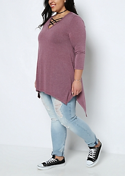Plus Heather Purple Sharkbite Tunic Tee