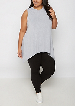 Plus Heather Gray Sharkbite Tunic Tank Top