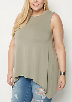 Plus Mint Sharkbite Tunic Tank Top