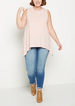 Plus Pink Sharkbite Tunic Tank Top
