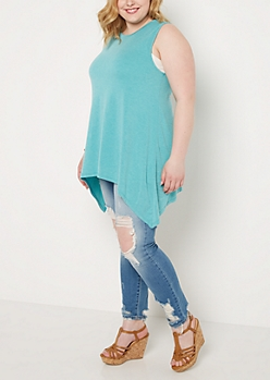 Plus Teal Washed Sharkbite Tunic Tank