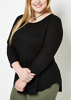 Plus Black Tunic Shirttail Shirt