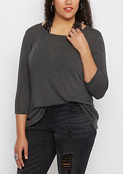 Plus Charcoal Gray Tunic Shirttail Shirt