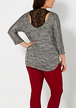 Plus Marled Black Racerback Dolman Top