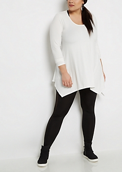 Plus Ivory Soft Knit Sharkbite Tunic Tee