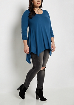 Plus Blue Soft Knit Sharkbite Tunic Tee