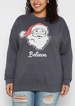 Plus Believe in Santa Crew Neck Sweatshirt
