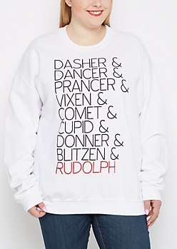 Plus Reindeer Crew Neck Sweatshirt