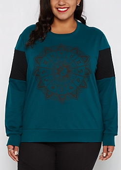 Plus Zodiac Wheel Quilted Sleeve Sweatshirt