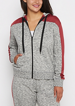 Plus Burgundy Color Block Zip-Down Hoodie