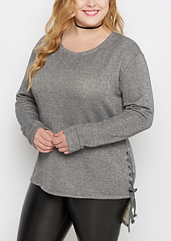 Plus Charcoal Sparkle Lace Up Terry Tunic