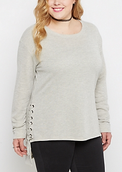 Plus Gray Sparkle Lace Up Terry Tunic