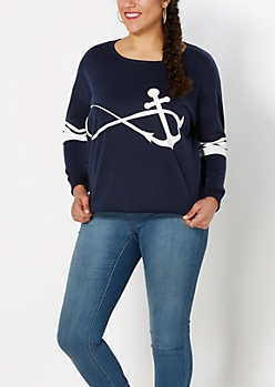 Plus Navy Anchor Infinity Sweatshirt