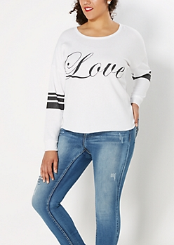 Plus White Love Sweatshirt