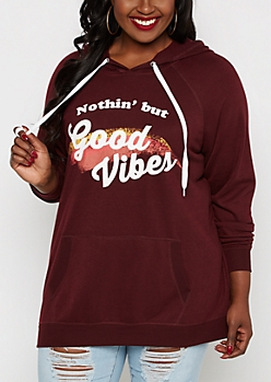 Plus Nothing But Good Vibes Fleece Hoodie