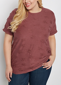 Plus Mauve Frayed Tunic Sweatshirt