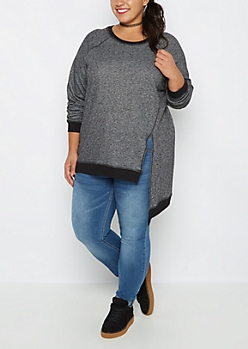 Plus Charcoal Marled Asymmetrical Sweatshirt