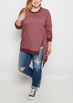 Plus Burgundy Marled Asymmetrical Sweatshirt