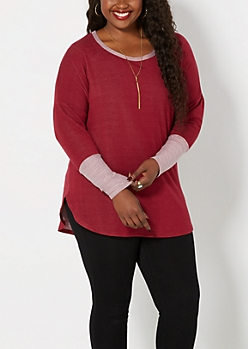 Plus Burgundy Blocked Knit Dolman Top