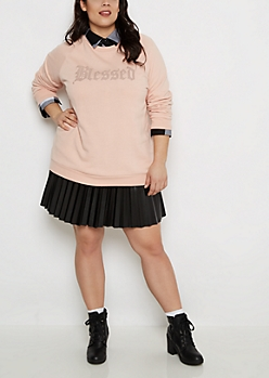 Plus Blessed Fleece Sweatshirt