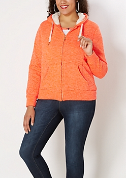 Plus Neon Orange Marled Faux Sherpa Hoodie