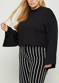 Plus Black Bell Sleeve Sweatshirt