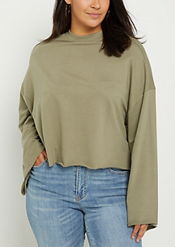 Plus Olive Bell Sleeve Sweatshirt