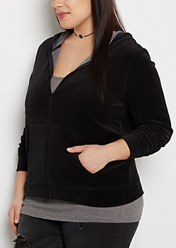 Plus Black Velour Zip-Down Hoodie