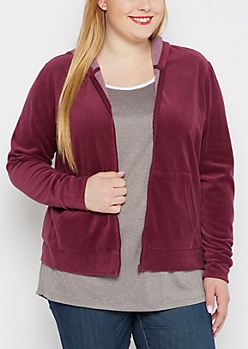 Plus Burgundy Velour Zip-Down Hoodie
