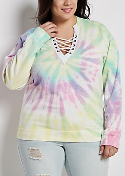 Plus Tie Dye Lace-Up Sweatshirt