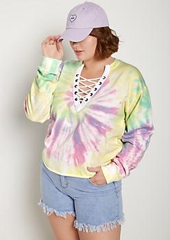 Plus Pastel Tie-Dye Lace-Up Crop Sweatshirt