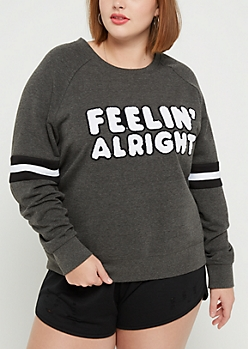 Plus Feelin Alright Striped Sweatshirt