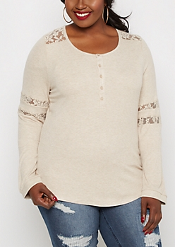 Plus Oatmeal Lace Insert Henley Top