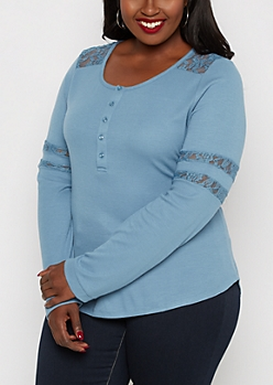 Plus Blue Lace Insert Henley Top
