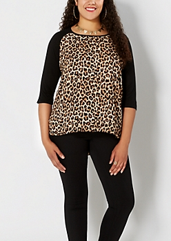 Plus Chiffon Leopard Raglan Top