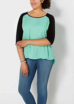 Plus Mint Green Chiffon Baseball Top