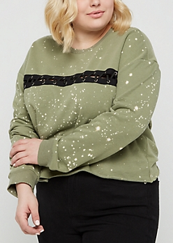 Plus Olive Bleached Laced Raw Edge Sweatshirt