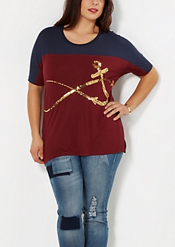 Plus Sequined Infinity Tee