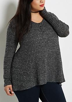 Plus Black Soft Knit Swing Henley Shirt