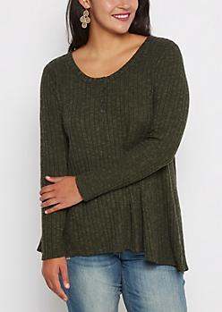 Plus Olive Soft Knit Swing Henley Shirt