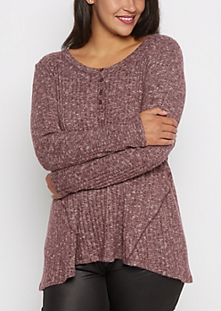 Plus Burgundy Soft Knit Swing Henley Shirt