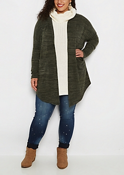 Plus Olive Marled Soft Hooded Wrap