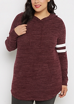 Plus Burgundy Varsity Shirttail Hoodie