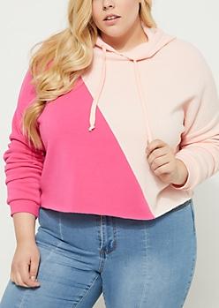 Plus Pink Colorblock Crop Hoodie