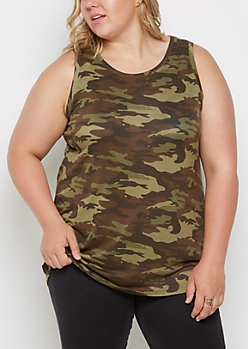 Plus Camo Crewneck Tank Top