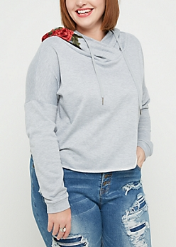 Plus Gray Rose Embroidered Crop Hoodie