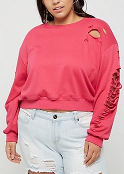 Plus Slashed Crop Sweatshirt