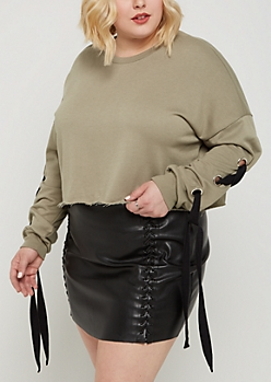 Plus Olive Lace Up Sleeve Crop Sweatshirt